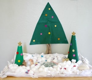 Snowy Christmas Tree Small World with Felt Trees