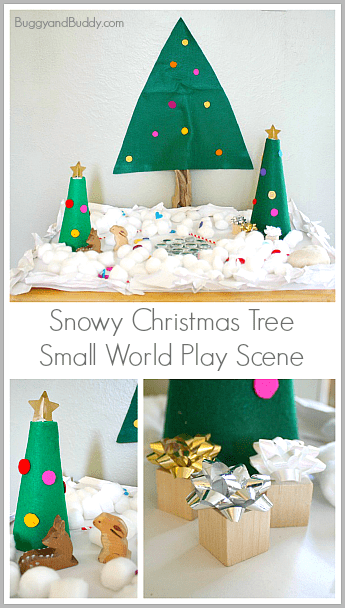 Christmas Activities for Kids: Snowy Christmas Tree Small World~ BuggyandBuddy.com
