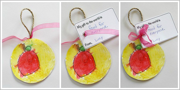 tie the gift tag on your ornament