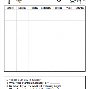 January Learning Calendar for Kids (Free Printable)