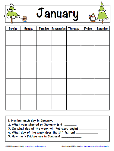 Free Printable: January Learning Calendar~ Buggy and Buddy