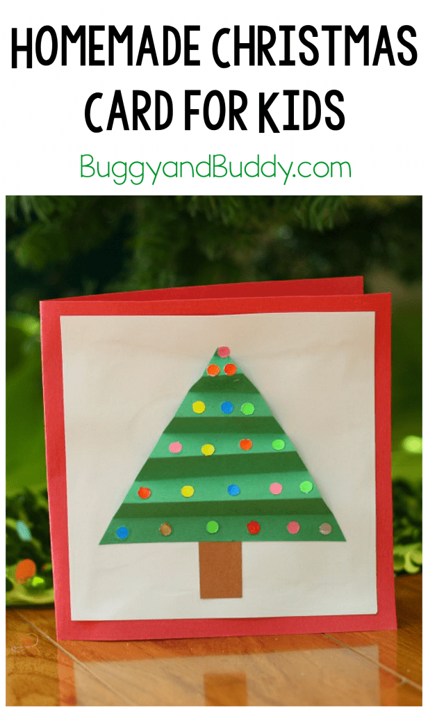 homemade christmas card with paper christmas tree