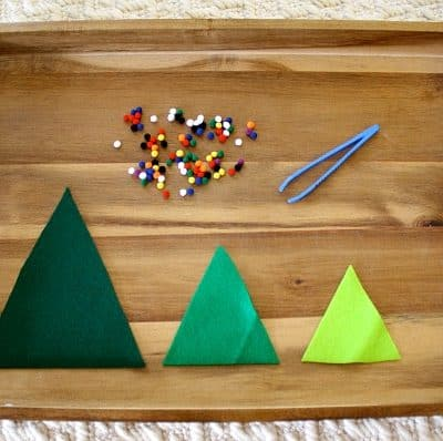 Fine Motor Activity for Kids: Decorate the Felt Christmas Trees