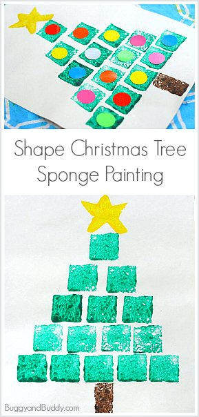 Christmas Art Project For Kids Sponge Stamped Shape Tree Practice Math Skills