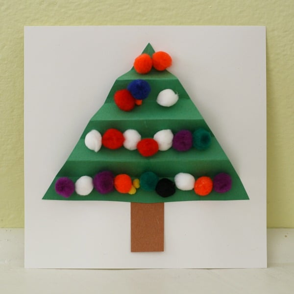 Christmas Homemade Craft Ideas Part - 42: Colorful Christmas Tree Card For Kids To Make~ Buggy And Buddy