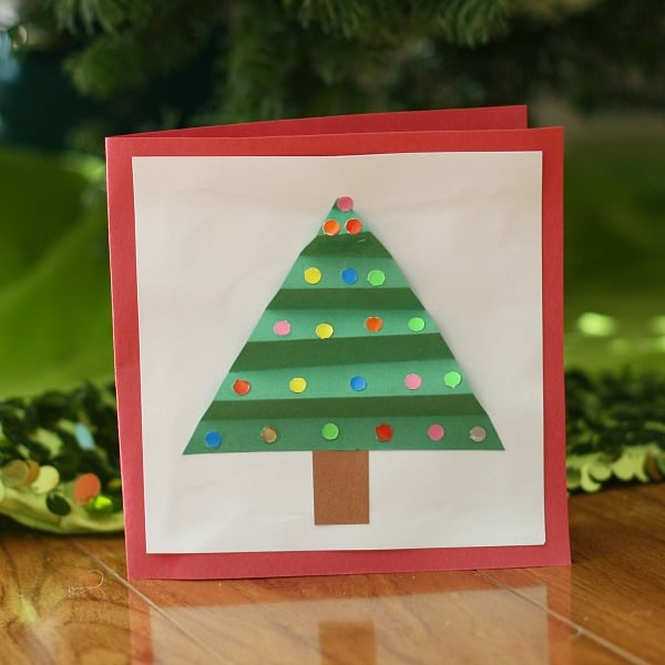colorful christmas tree card for kids to make buggy and buddy