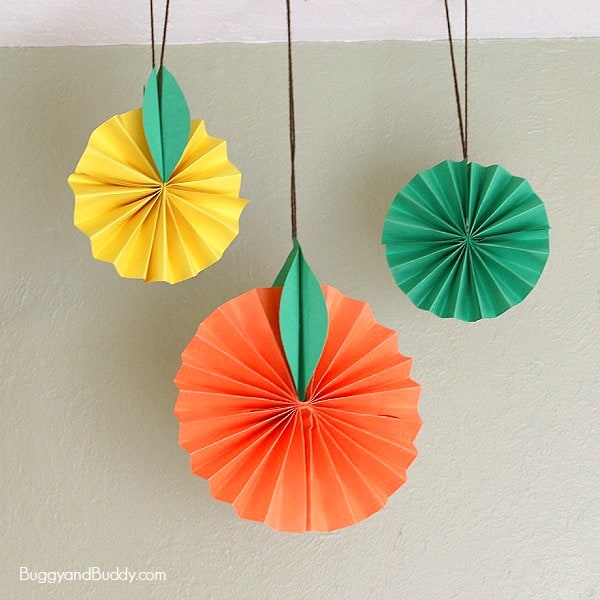 Hanging Citrus Fruit Paper Craft For Kids Buggy And Buddy