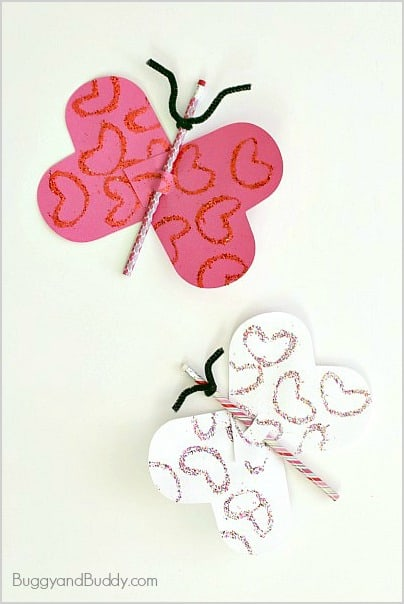 Homemade Valentines for Kids: Butterfly Pencil Valentines~ BuggyandBuddy.com