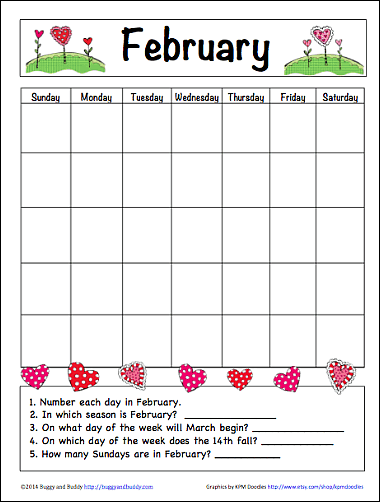 February Learning Calendar For Kids Free Printable Buggy And Buddy