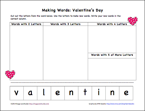 Valentineu0027s Day Themed Making Words (FREE Printable)~ Buggy And Buddy