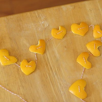 Heart Garland Craft for Kids Made from Orange Peels