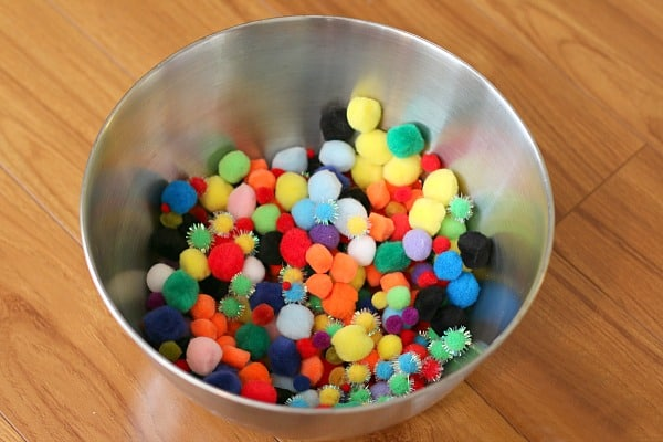 Big bowl of pom poms