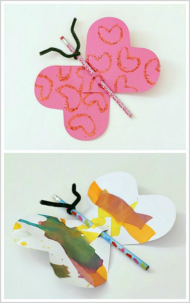 Homemade Valentines for Kids: Butterfly Pencil Valentines