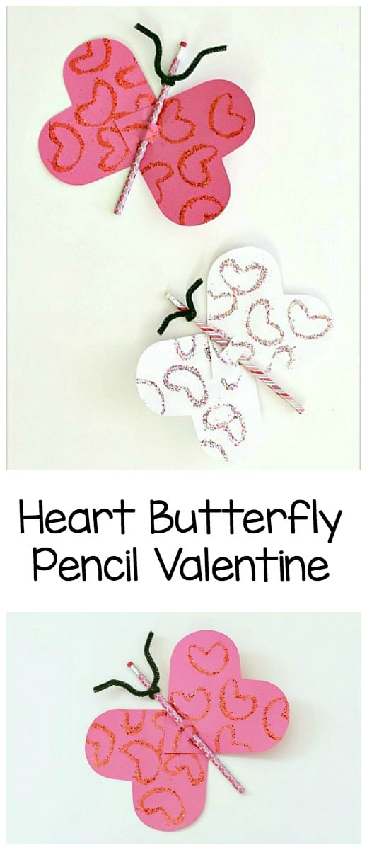DIY Valentine For Kids To Make: Paper Heart Butterflies With Pencils  Easy  Candy Free