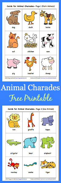 free printable animal charades game with both farm animals and jungle animals perfect