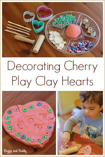 Toddler Crafts: Decorating Cherry Play Clay Hearts~ Buggy and Buddy