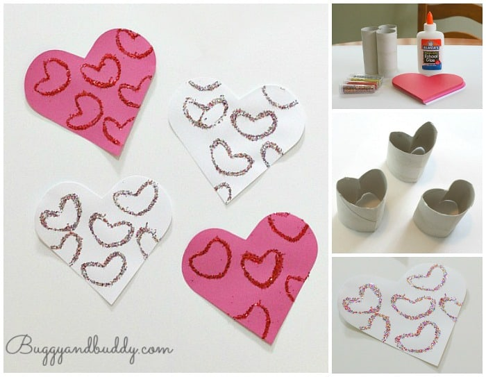 Use cardboard tubes to stamp glitter hearts! An easy Valentine's Day craft for kids!
