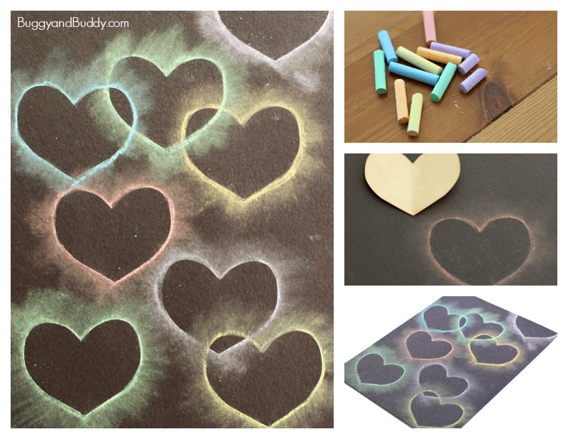 heart collage for kids using chalk and stencils