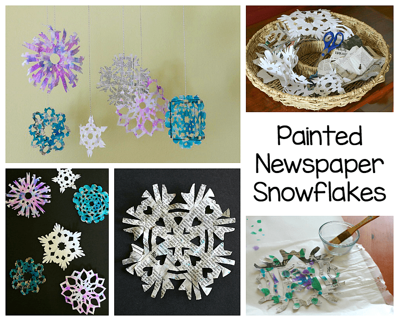 newspaper snowflake art project