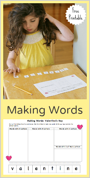 Valentine's Day Making Words (Free Printable)~ Buggy and Buddy