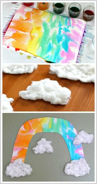 Rainbow Craft for Kids: Unique Rainbow Art Project using watercolors and with 3-D Cotton Clouds! Perfect for a unit on weather or St. Patrick's Day! ~ BuggyandBuddy.com