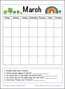 March Calendar for Kids (Free Printable)