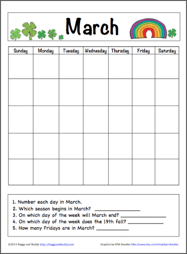 Printable Monthly Calendar Kindergarten : March calendar for kids free printable buggy and buddy