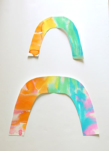 cut out rainbows from watercolor paper