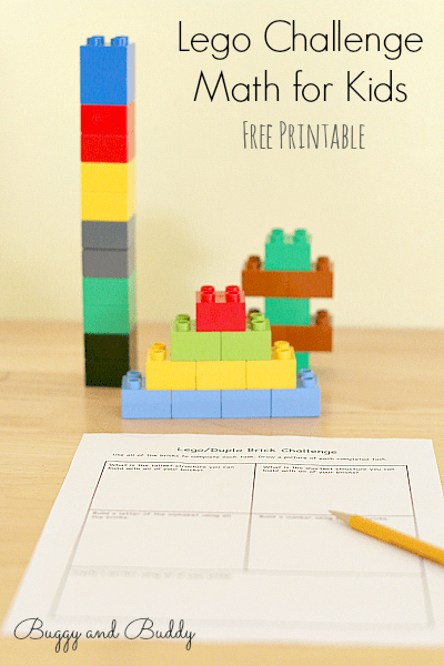 lego challenge math activity for kids with free printable buggy and buddy