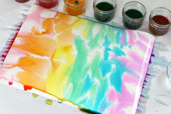 watercolor rainbow with droppers