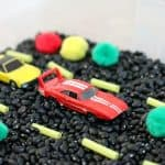 Car Themed Sensory Bin for Toddlers and Preschoolers