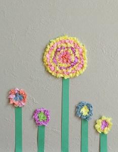 Flower Crafts for Kids: Textured Tissue Paper Flowers