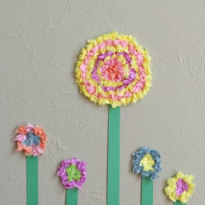 Flower Crafts for Kids: Textured Tissue Paper Flowers