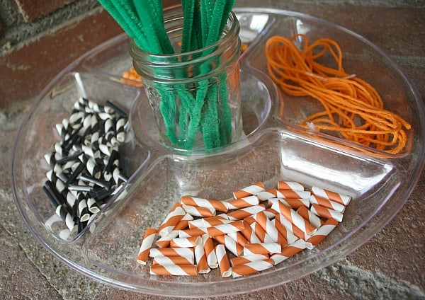 Fine Motor Activity for Kids with Straws, Pipe Cleaners, and String
