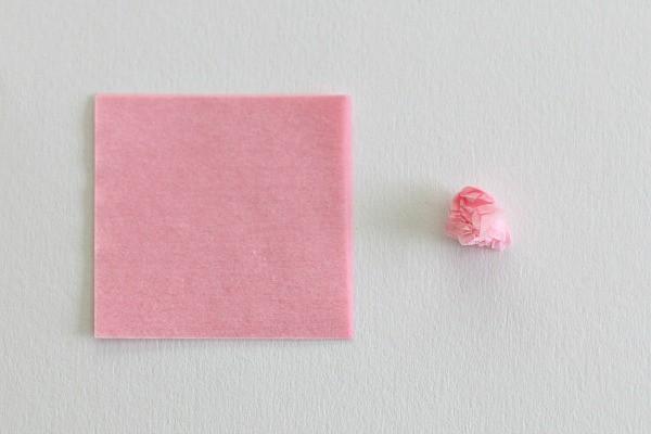 crumple tissue paper squares into balls