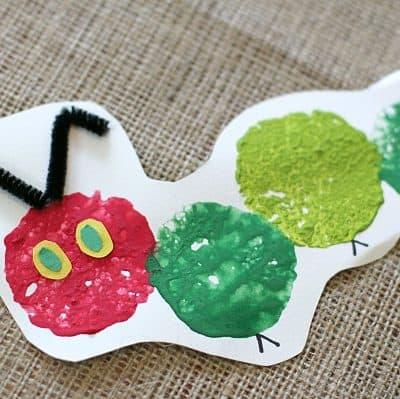 The Very Hungry Caterpillar Craft Using Sponge Painting