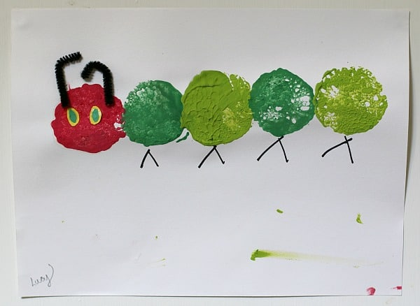 The Very Hungry Caterpillar Craft Using Sponge Painting
