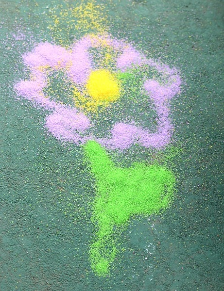 Spring flower art for kids using sand