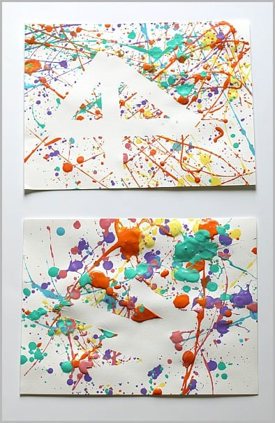 Splatter Paint and Tape Resist Art for Kids~ Buggy and Buddy