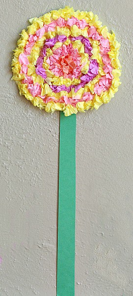 Flower Crafts for Kids: Textured Tissue Paper Flowers~ Buggy and Buddy