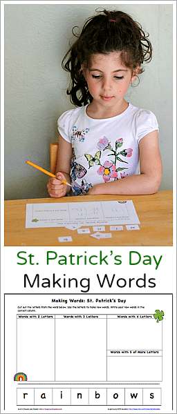 St. Patrick's Day Making Words Printable: Free rainbow themed spelling worksheet to encourage phonics skills, word building and other literacy skills for kids.
