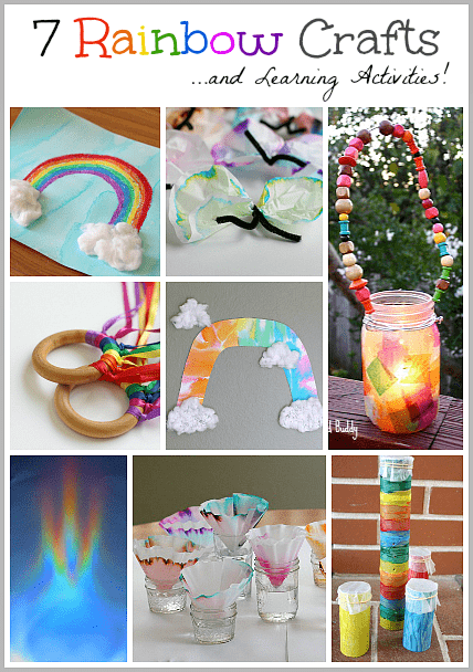 7 Creative Rainbow Crafts and Rainbow Learning Activities: for spring, a unit on weather, or St. Patrick's Day! Including rainbow art projects, homemade instrument, rainbow science and more!