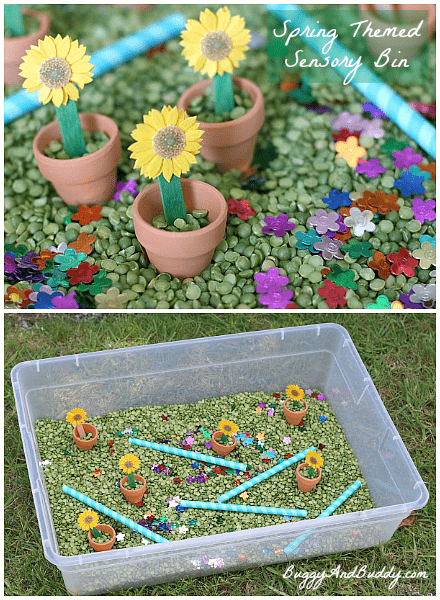 Spring Themed Sensory Bin~ Buggy and Buddy