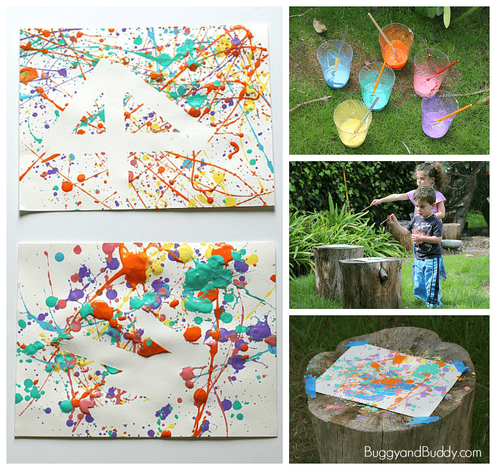 Fun Art Project for Kids- Splatter Paint and Tape Resist Process Art ~ BuggyandBuddy.com