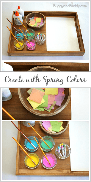 Spring Art Project for Kids: Invitation to Create with Spring Colors- Process art activity for toddlers, preschool, kindergarten, and older! ~ BuggyandBuddy.com