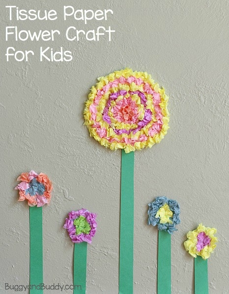 Spring Craft for Kids: How to Make Tissue Paper Flowers- BuggyandBuddy.com