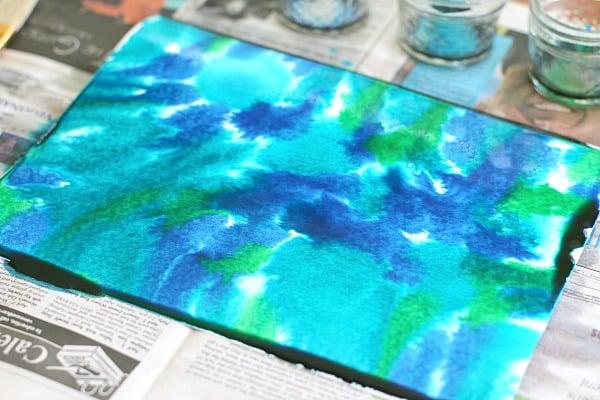 create ocean scene with liquid watercolors