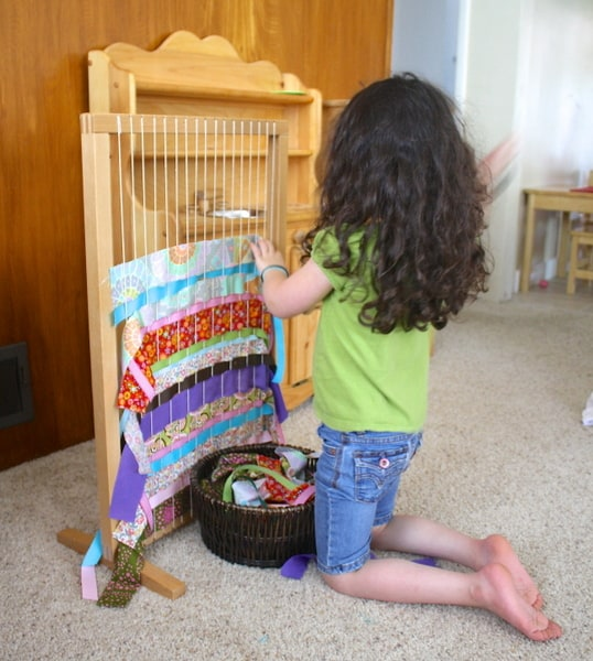 Weaving with a Large Loom Using Fabric Scraps and Ribbons (Great for Classrooms!)~ Buggy and Buddy