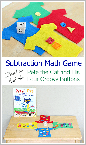 Subtraction Math Game Based on Pete the Cat and His Four Groovy Buttons~ Buggy and Buddy