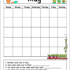 May Calendar for Kids (Free Printable)